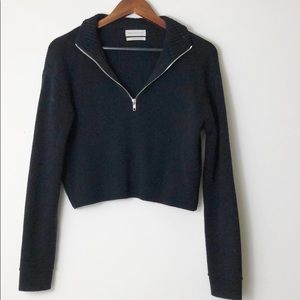 Urban Outfitters Cropped Half Zip Sweater Black